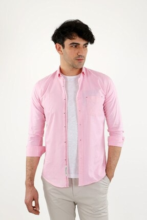 Jakamen Pembe Slim Fit Normal Manşet Gömlek