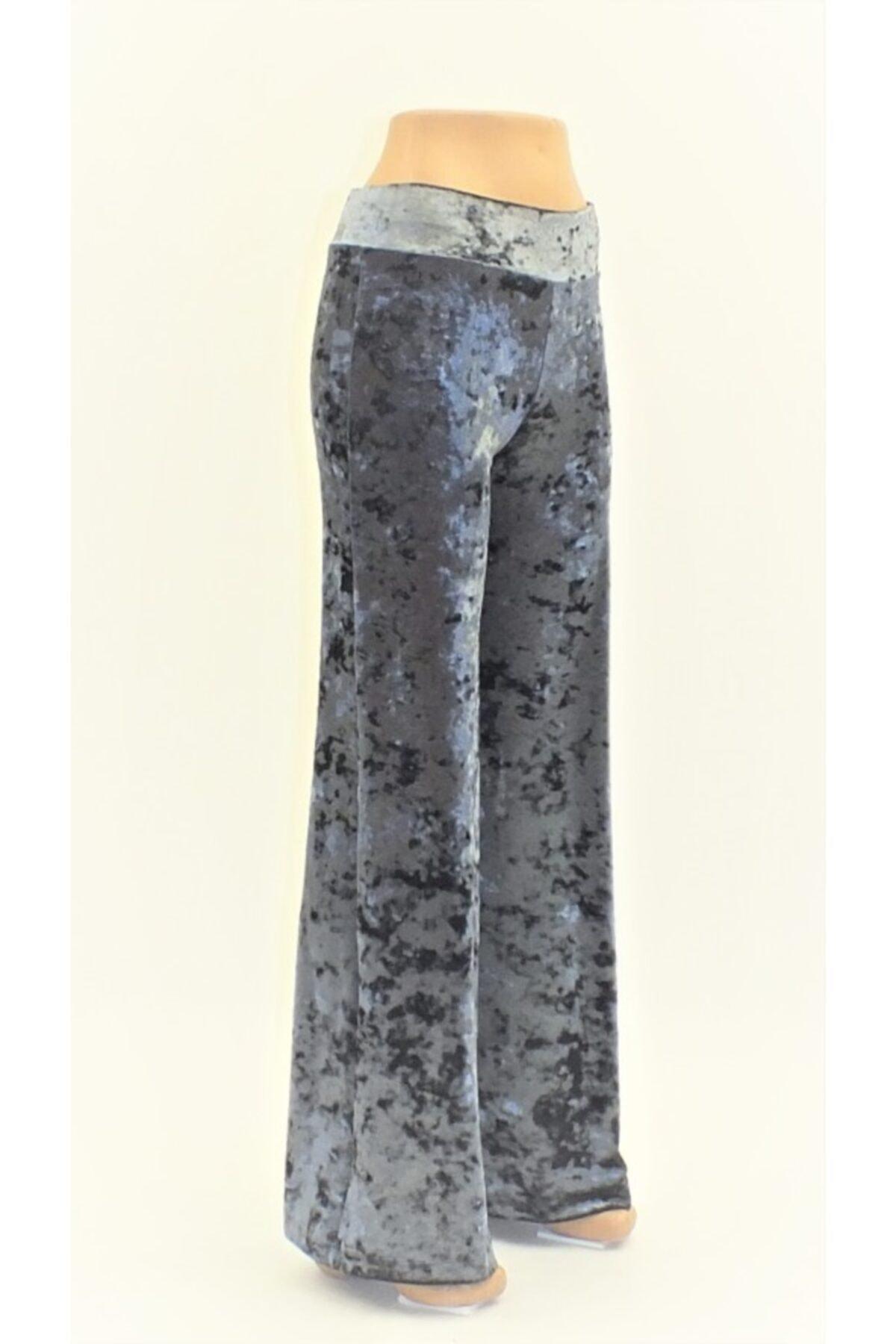 Otto Kadın Mavi Melanj Kadife Yüksek Kemer Likralı Pantolon 1