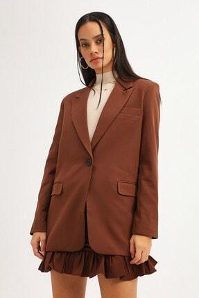 Quzu Kadın Koyu Kahve Tek Düğmeli Blazer Ceket