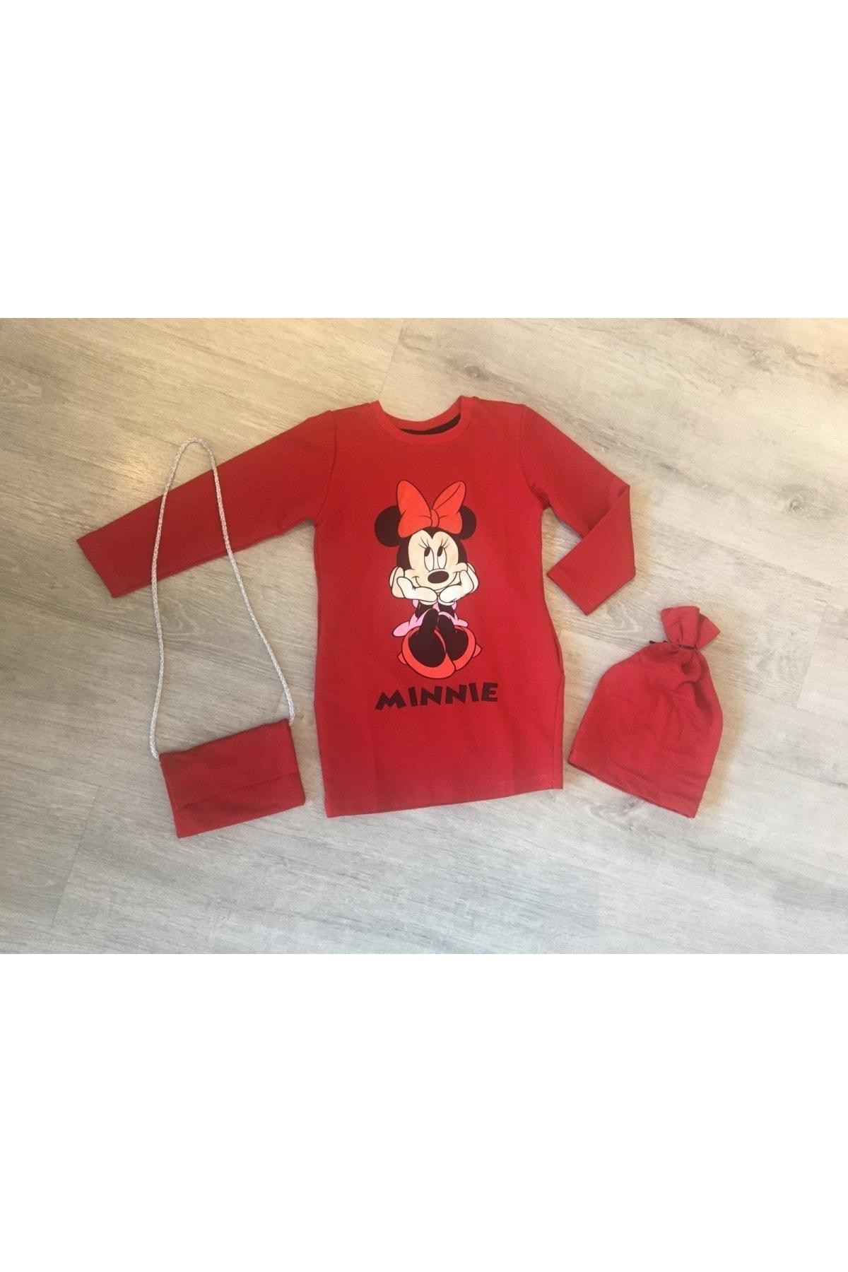 Moda da Moda KIDS Kız Çocuk Kırmızı Çantalı & Bereli Penye Elbise 1
