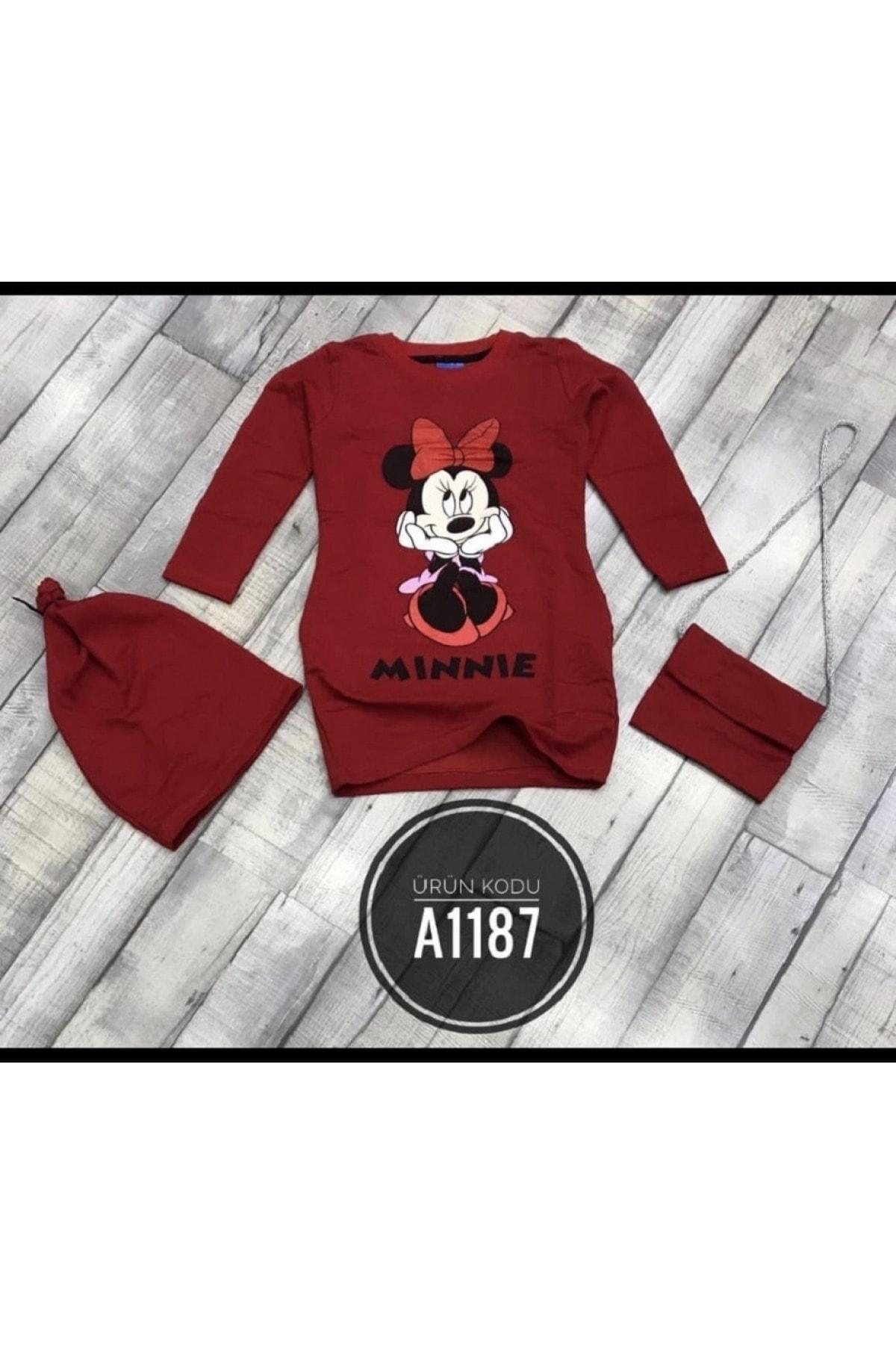 Moda da Moda KIDS Kız Çocuk Kırmızı Çantalı & Bereli Penye Elbise 2