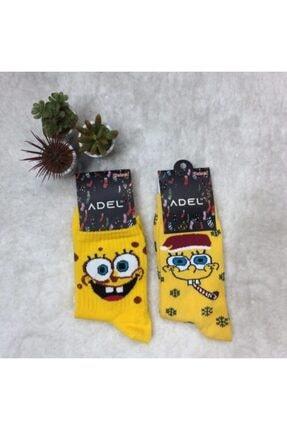 ADEL ÇORAP Unisex  Sarı 2'li Desenli  Çorap