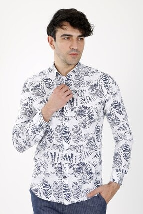 Jakamen Lacivert Slim Fit  Normal Manşet Gömlek