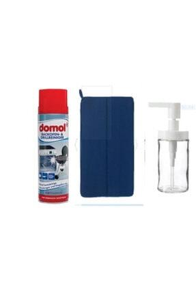 DOMOL Fırın Izgara Temizleyici Mavi Bulaşık Kurutma Örtüsü Tackan Sıvı Sabunluk 3lü Hijyen Set