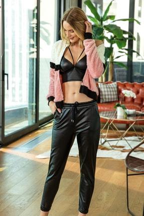 Anıl Kadın Siyah Desteksiz Kaplı Deri Görünümlü Pantolon Fermuarlı Peluş Sweatshirt Takım  3'lü 5554