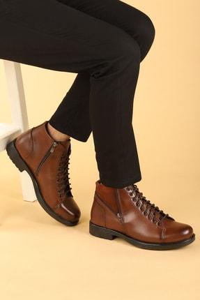 Ayakland Erkek Kahverengi Termo Taban İçi Kürklü Fermuarlı Bot Ayakkabı