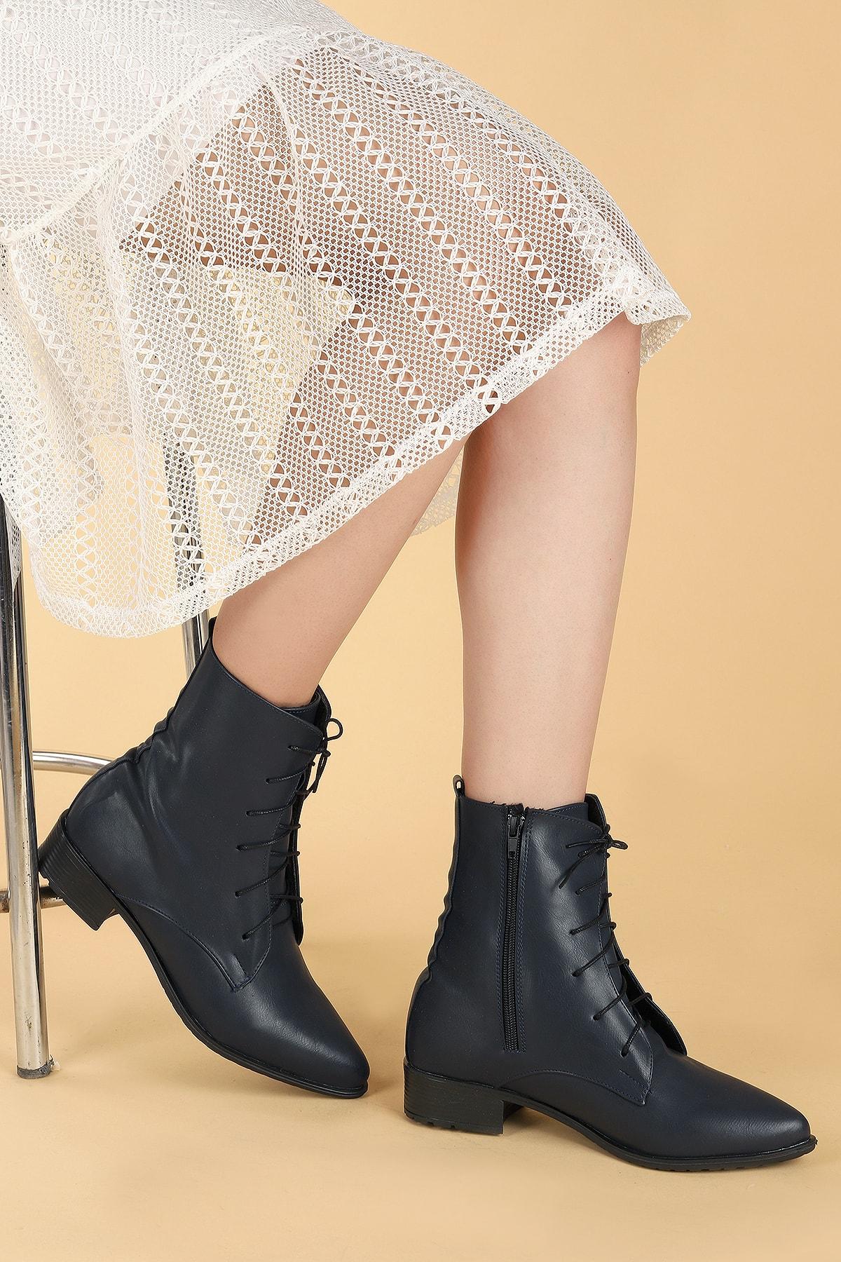 Ayakland Kadın Lacivert Cilt Bağcıklı Termo Taban Bot Ayakkabı 007-01 2