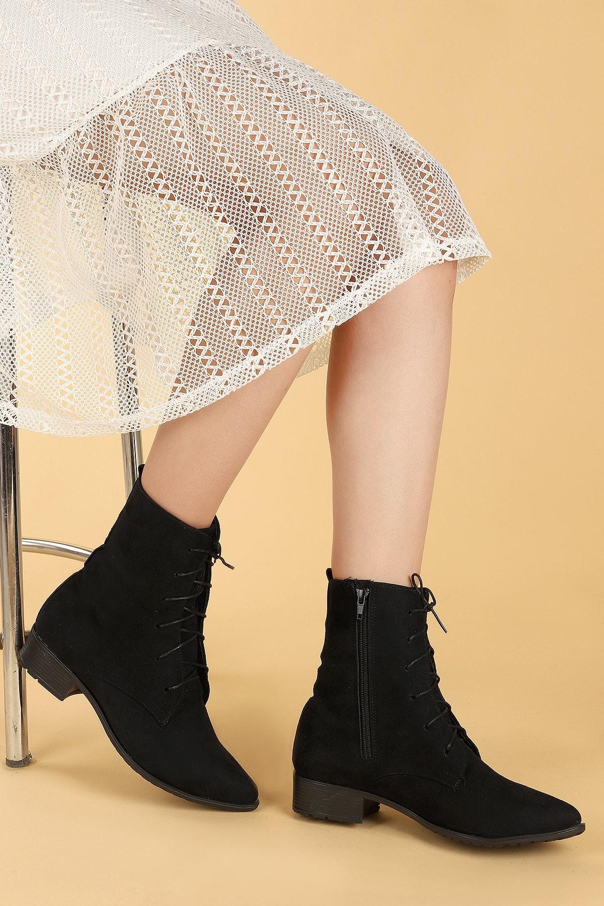 Ayakland Kadın Siyah Süet Bağcıklı Termo Taban Bot Ayakkabı 007-01 2