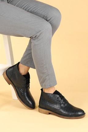 Ayakland Erkek Siyah Kroko Termo Taban Bağcıklı Bot Ayakkabı 5000