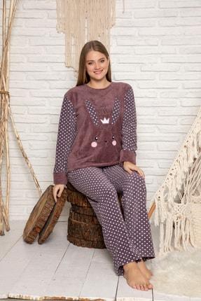 ELİTOL Kadın Vizon Welsoft Pijama Takim