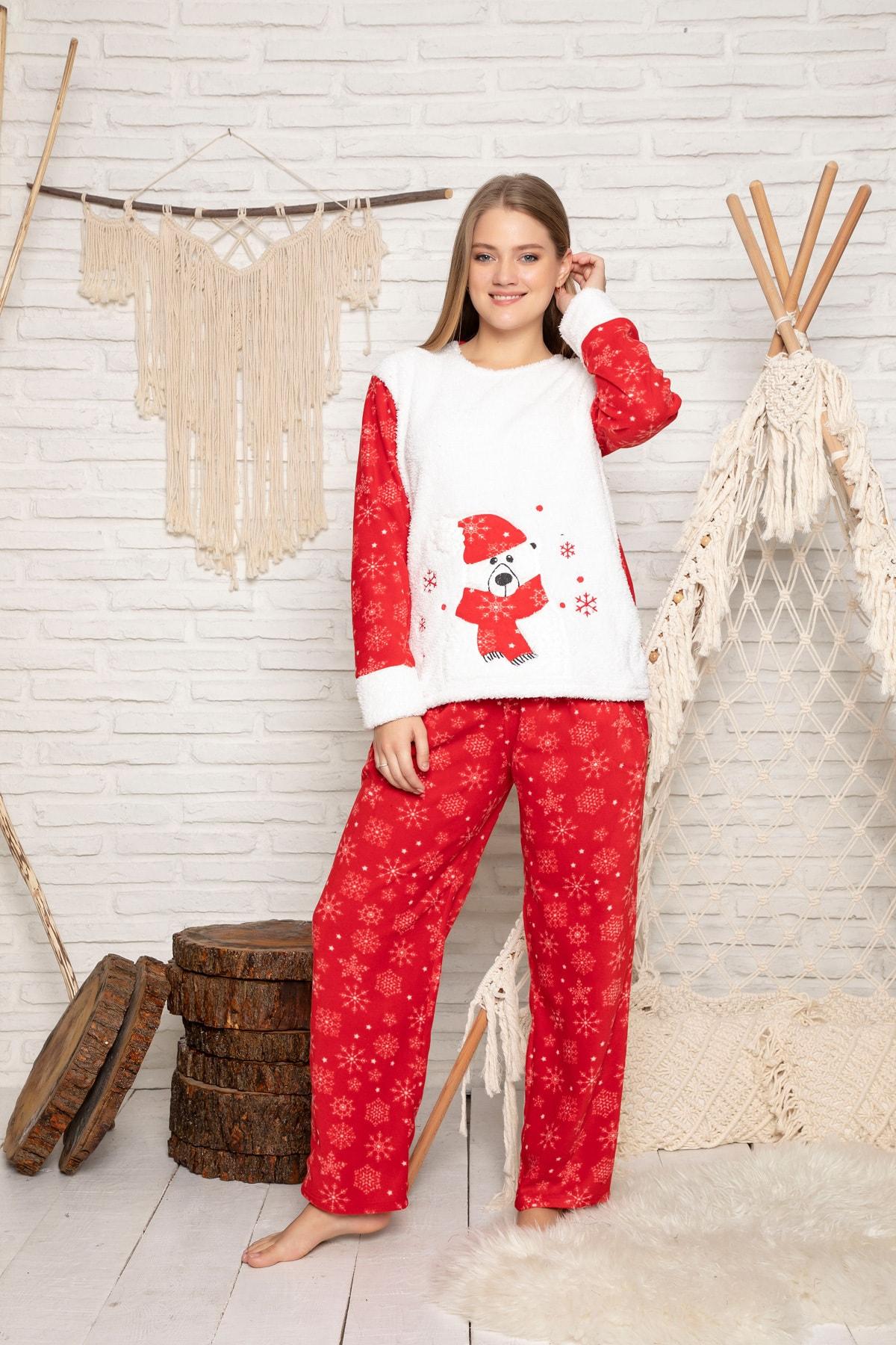ELİTOL Kadın Kirmizi Welsoft Pijama Takim 2