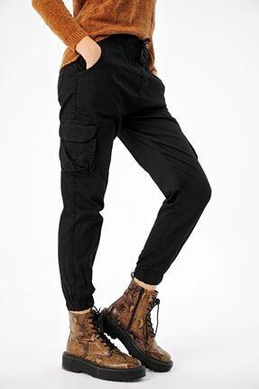 ŞİMAL Kadın Beli Paçası Lastikli Kargo Cepli Pantolon
