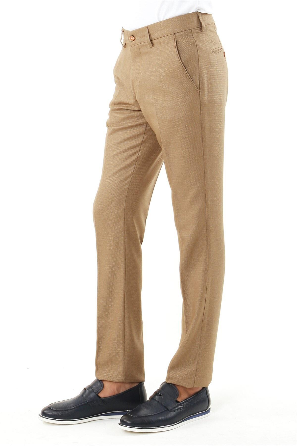 Jakamen Erkek  Kahverengi Regular Fit Serili  Spor Yan Cep Serili Pantolon 1