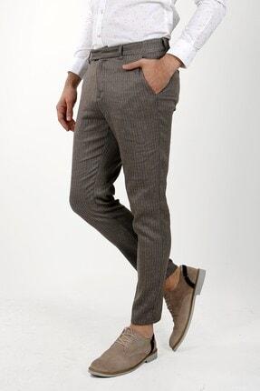 Jakamen Erkek Kahverengi Slim Fit Spor Yan Cep Pantolon
