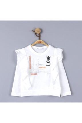 NK Kız Çocuk Krem Fırfırlı Taşlı Pamuklu Bluz