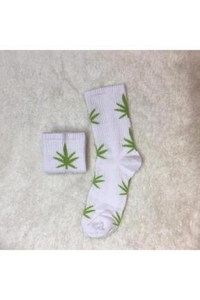 ADEL ÇORAP Unisex Fıstık Yeşili Yaprak Desenli Çorap