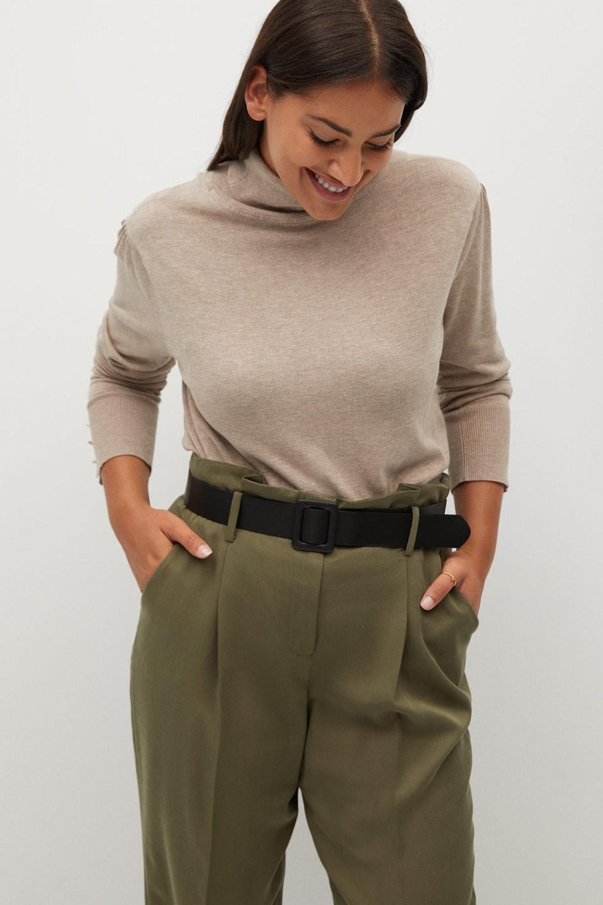Violeta by MANGO Kadın Haki Renk Daralan Kısa Paçalı Pantolon 77067110 1