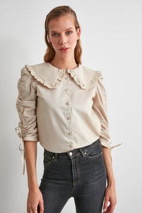 TRENDYOLMİLLA Taş Dantel Şeritli Gömlek TWOAW21GO0519