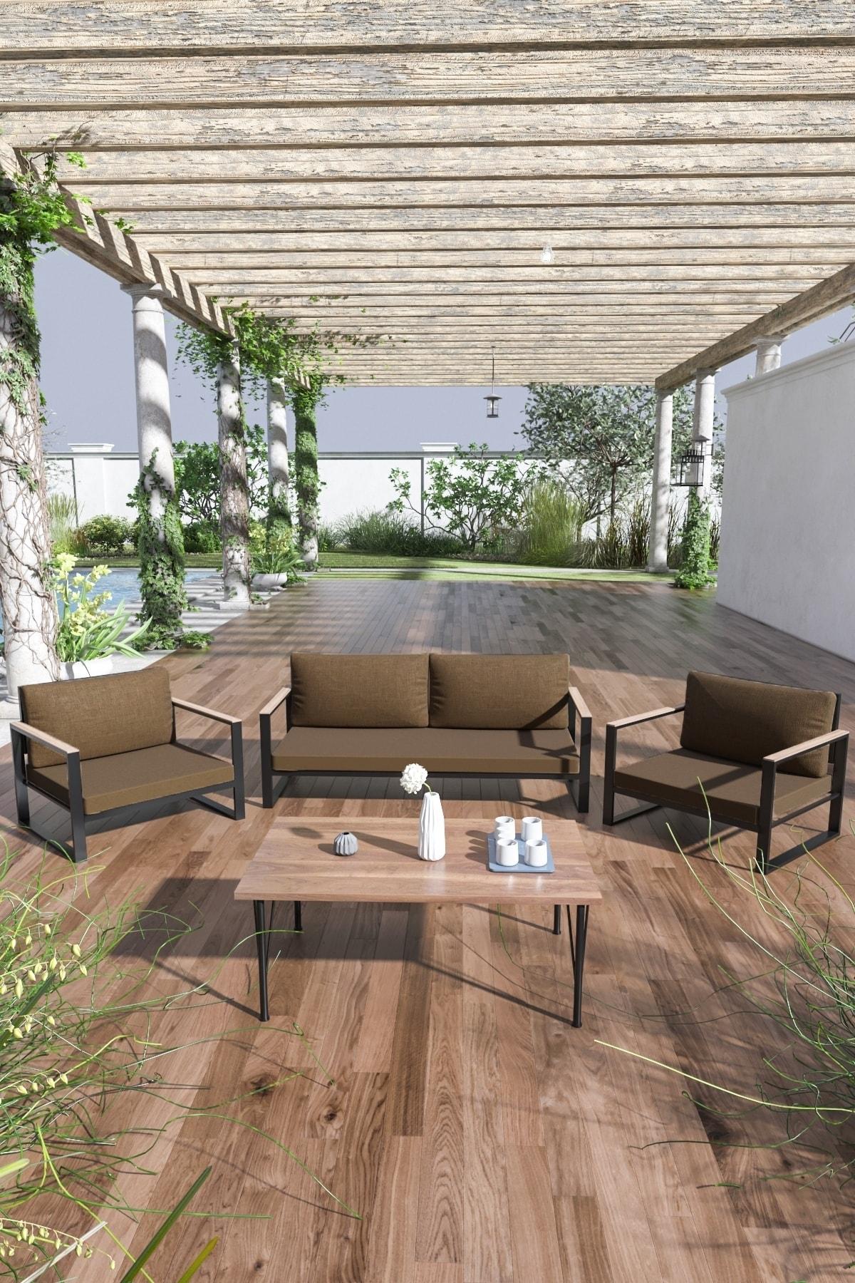 Evdemo Kobalt Bahçe Balkon Oturma Takımı Sehpalı 2+1+1 Kahve 1