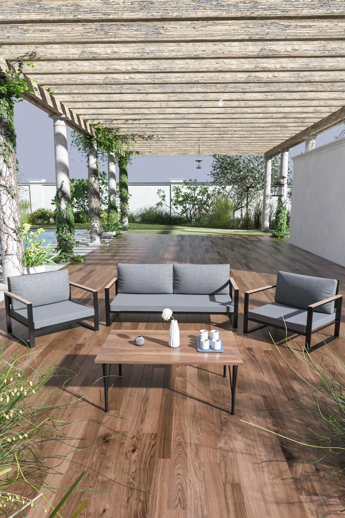 Evdemo Kobalt Bahçe Balkon Oturma Takımı Sehpalı 2+1+1 Gri 1