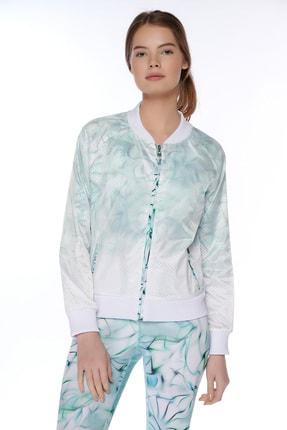 Dagi Kadın Beyaz File Desenli Fermuarli Ceket