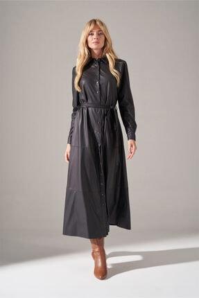 Mizalle Kadın Siyah Suni Deri Gömlek Elbise
