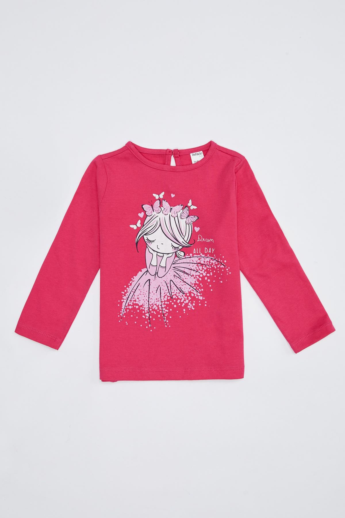 DeFacto Kız Bebek Baksılı Uzun Kollu Pamuklu Tişört 1