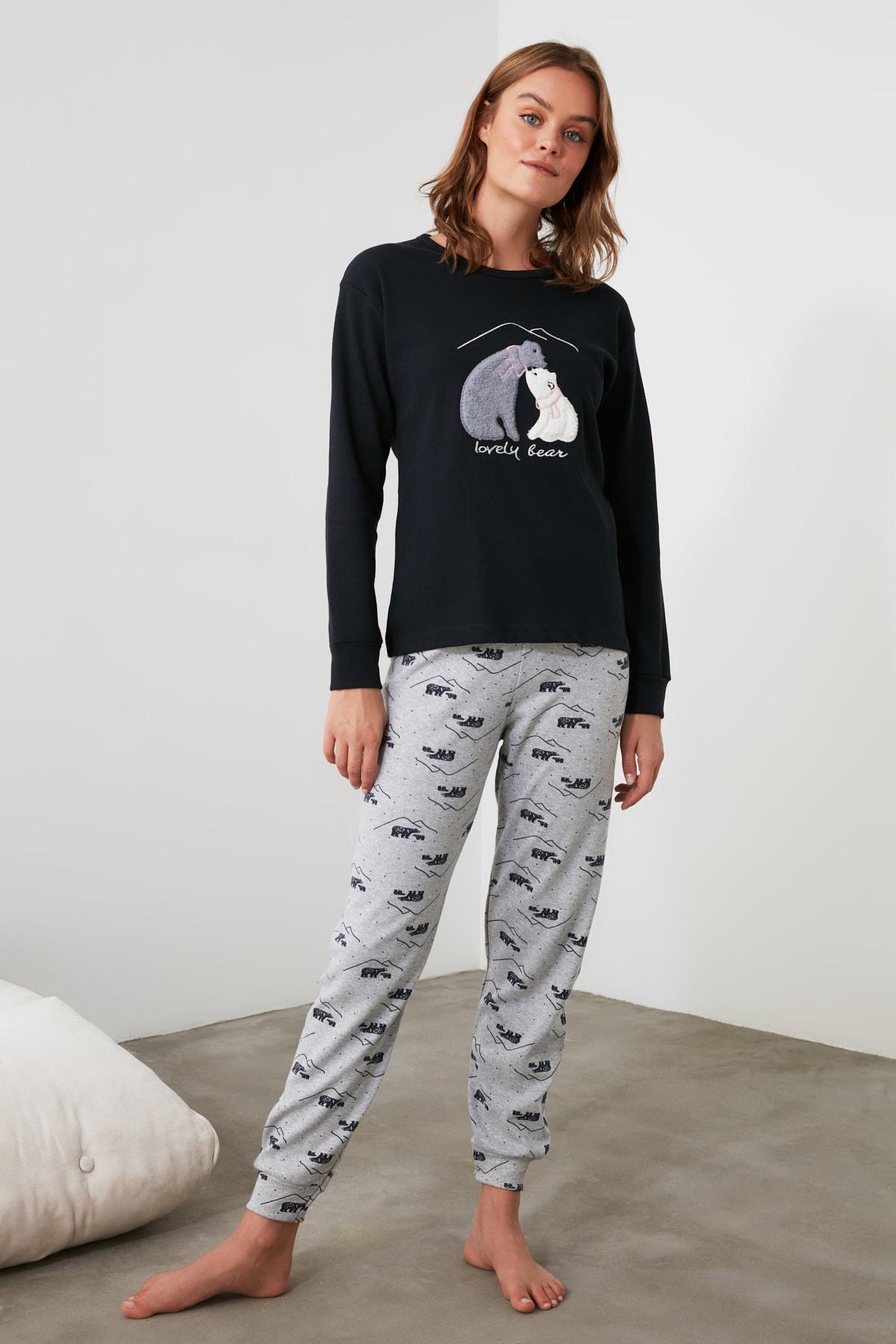 TRENDYOLMİLLA Lacivert Nakışlı Örme Pijama Takımı THMAW21PT0644 1