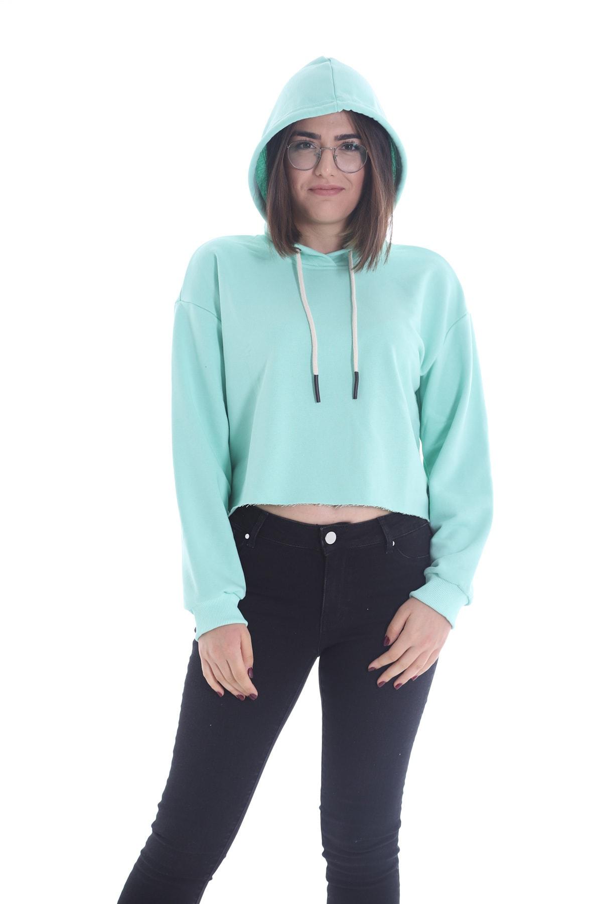 Yelken Kadın Mint Kapüşonlu Crop Sweatshirt Hoddie Ylkn0031 1