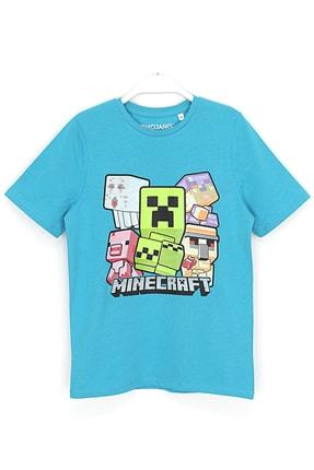 MINECRAFT Erkek Çocuk Mavi Silikon Baskılı T-shirt