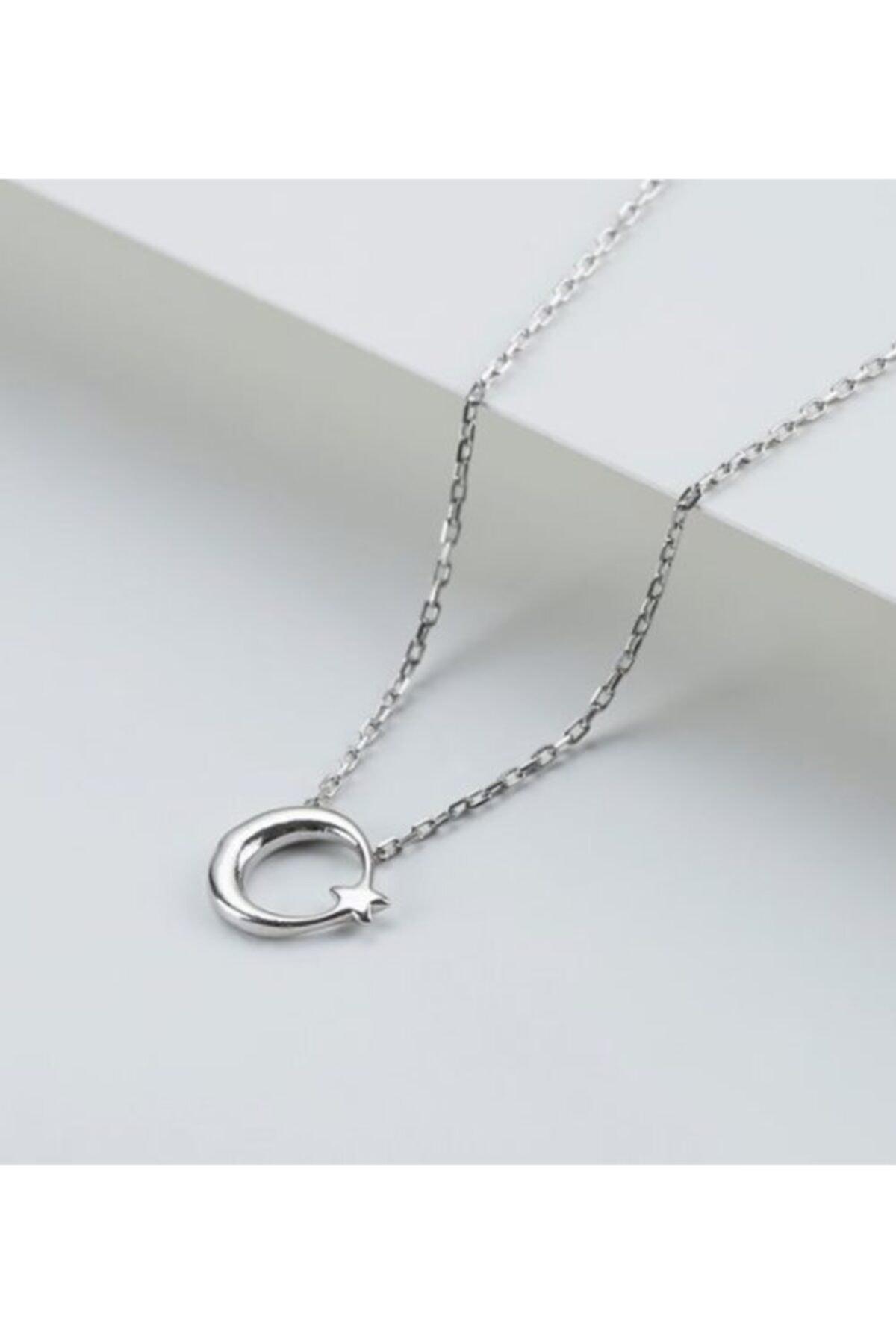 Gümüşistan 925 Ayar Gümüş Minimal Ay Yıldız Kolye 1