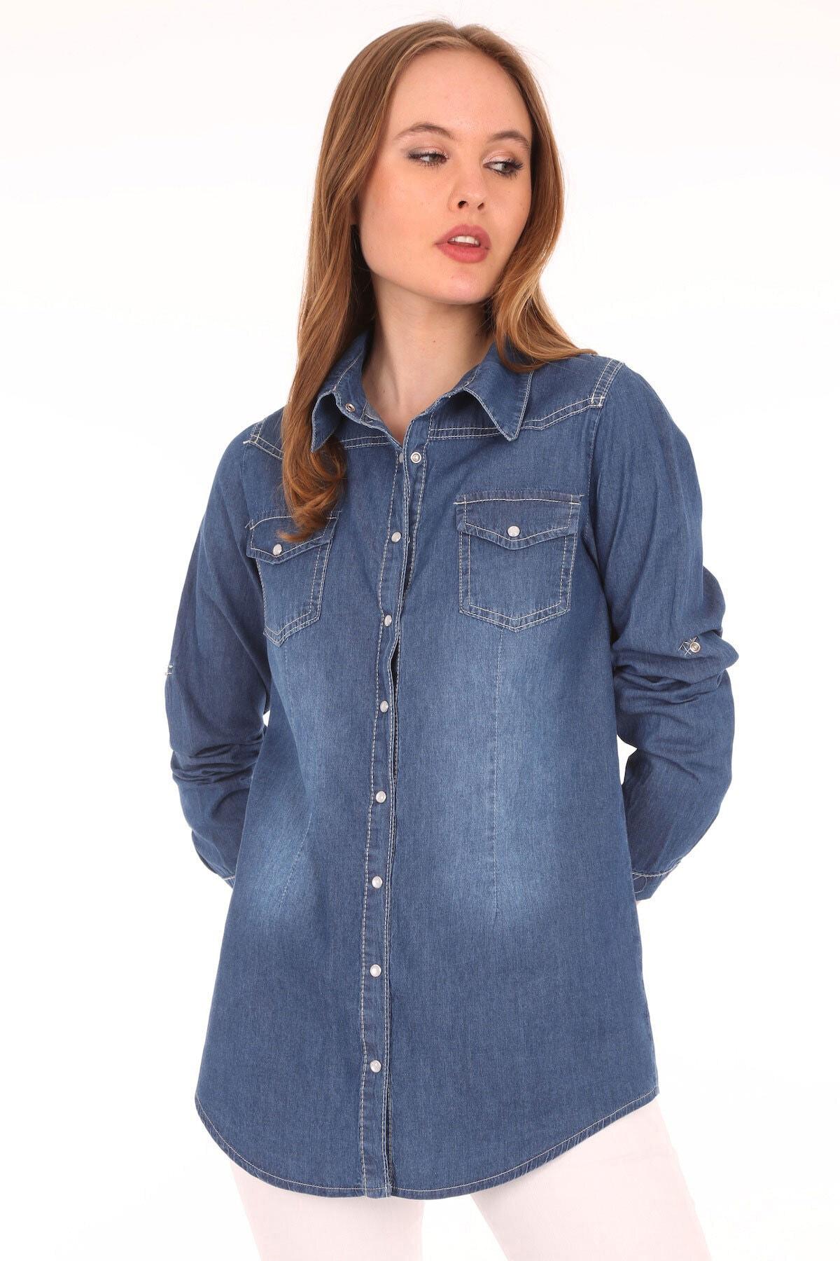 Bigdart Kadın Mavi Çift Cepli Çıtçıtlı Kot Gömlek 3411 2