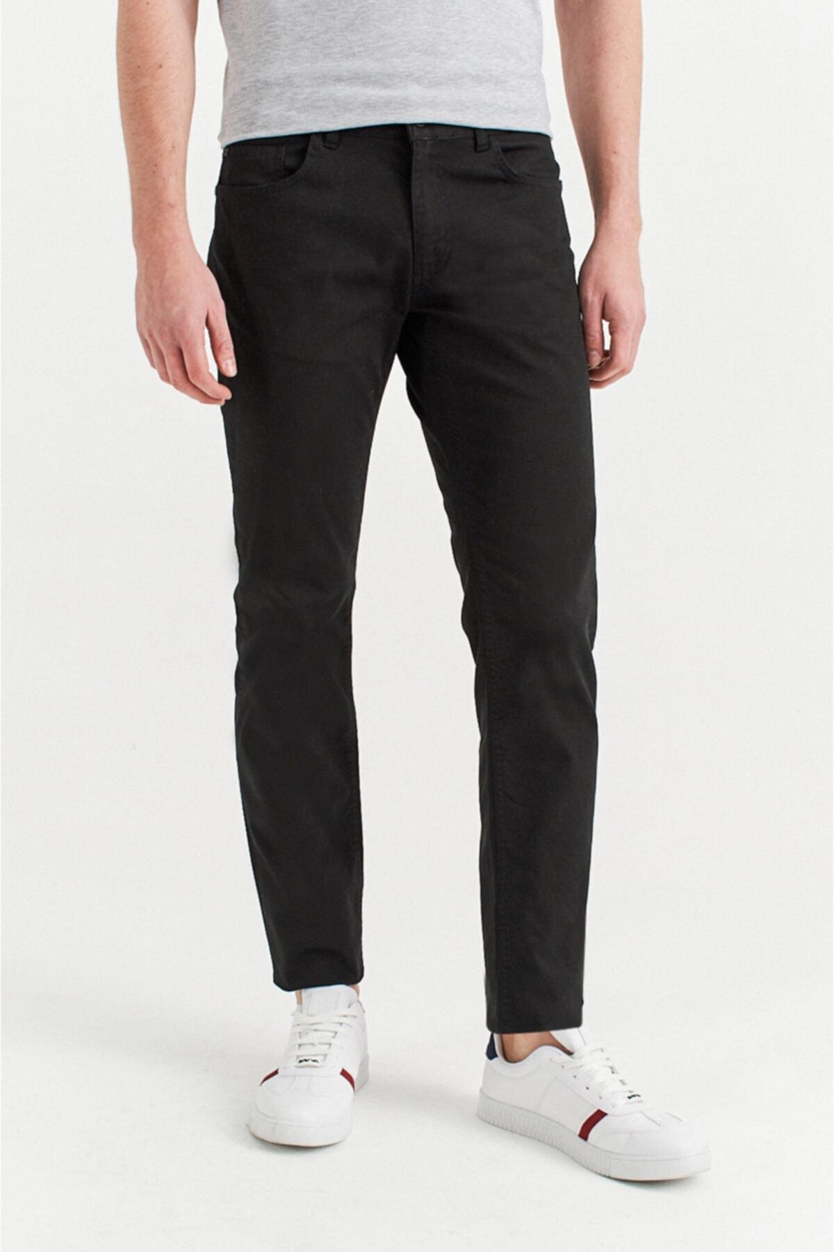Avva Erkek Siyah 5 Cepli Armürlü Slim Fit Pantolon A92y3086 2
