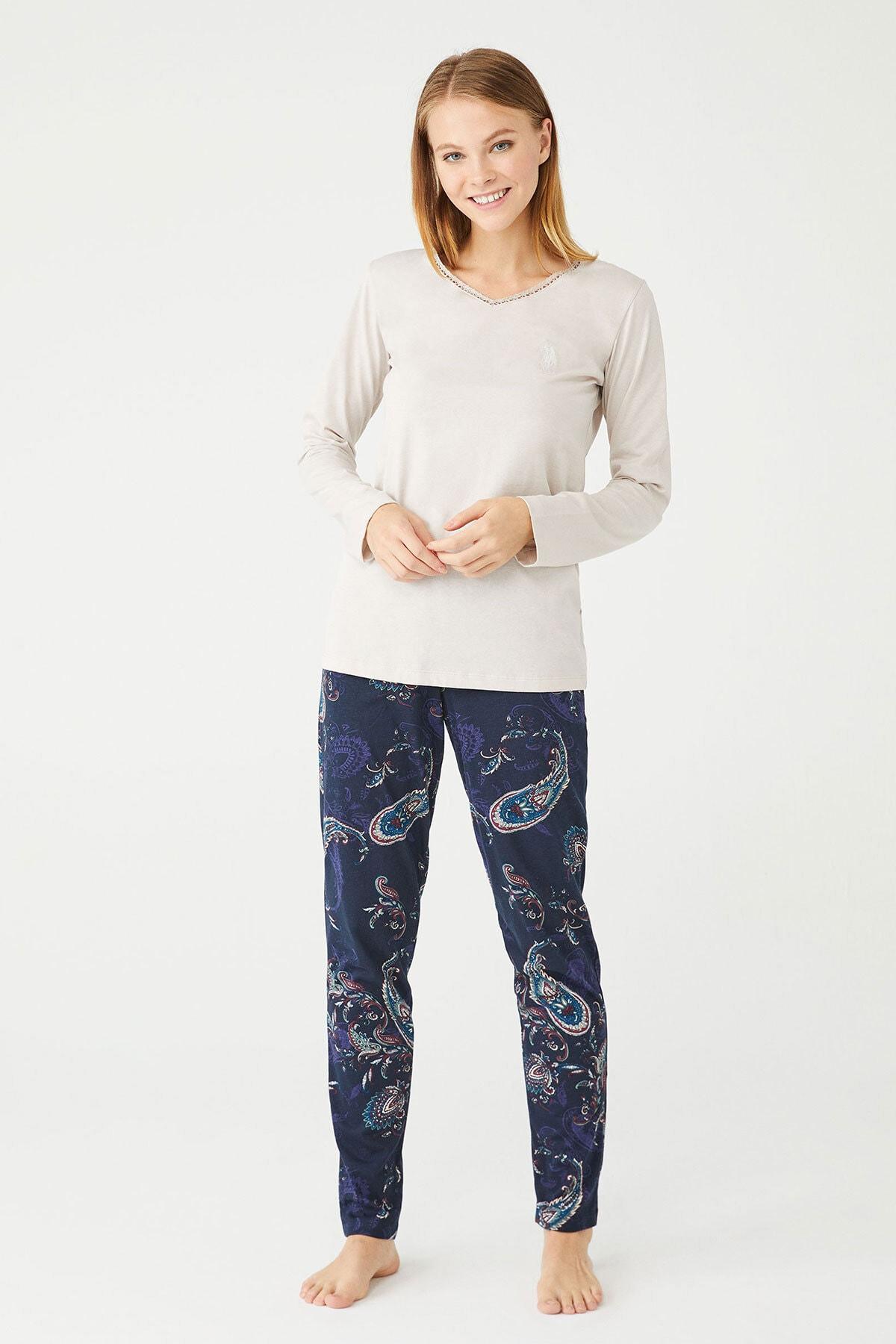 U.S POLO Kadın Bej Melanj V Yaka Pijama Takım 1