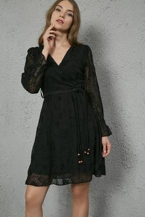 Sateen Kadın Siyah Kuşaklı Kruvaze Elbise