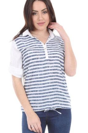 Bigdart Kadın Lacivert Kol Katlamalı Çizgili Gömlek Bluz 3668