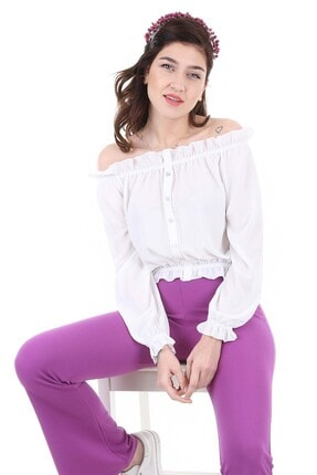 Bigdart Kadın Beyaz Lastikli Süs Düğmeli Bluz 0356