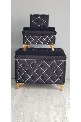 Kırçova Tekstil Şura Siyah 3'lü Çeyiz Sandığı