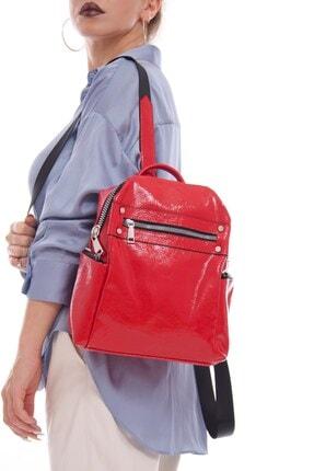 Fume London Kadın Kırmızı Rugan Bölmeli Çok Amaçlı Sırt Çantası Fb3061