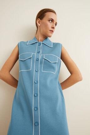 adL Kadın Mavi Triko Elbise