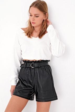 Trend Alaçatı Stili Kadın Ekru Arka Ön V Yaka Crop Bluz ALC-X5032