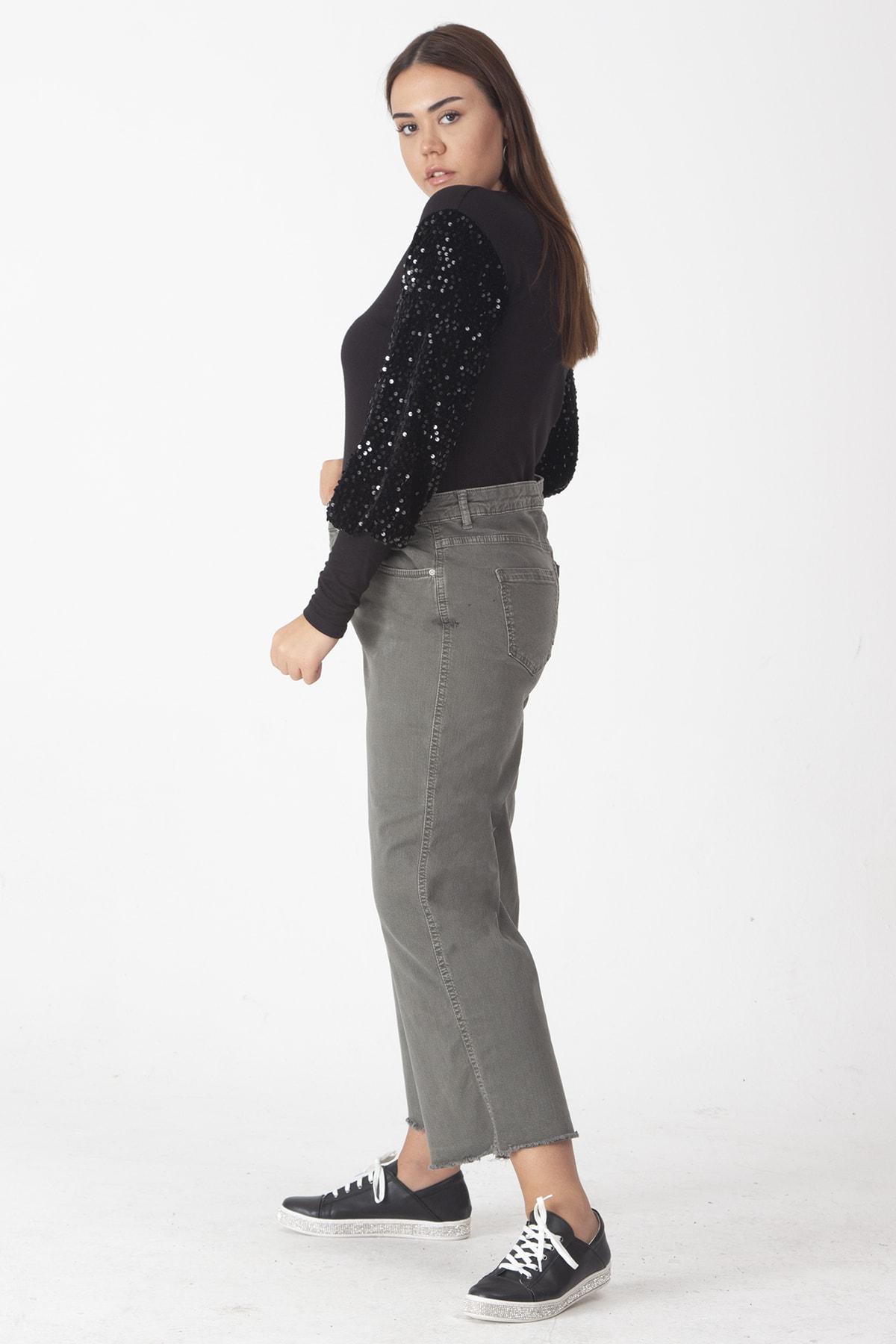 Şans Kadın Haki Pamuklu Kumaş Paça Pis Dikişli Pantolon 65N19162 2