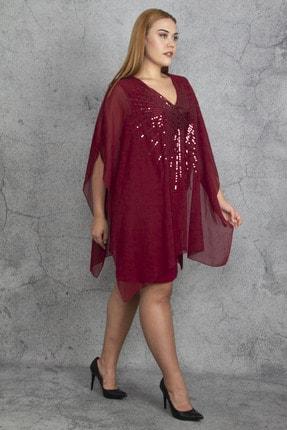 Şans Kadın Bordo Payet Ve Şifon Pelerin Detaylı Elbise 65N19193