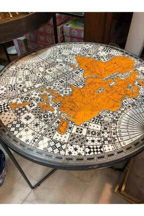 Lucky Art Dünya Haritalı Metal Sehpa 50 Cm