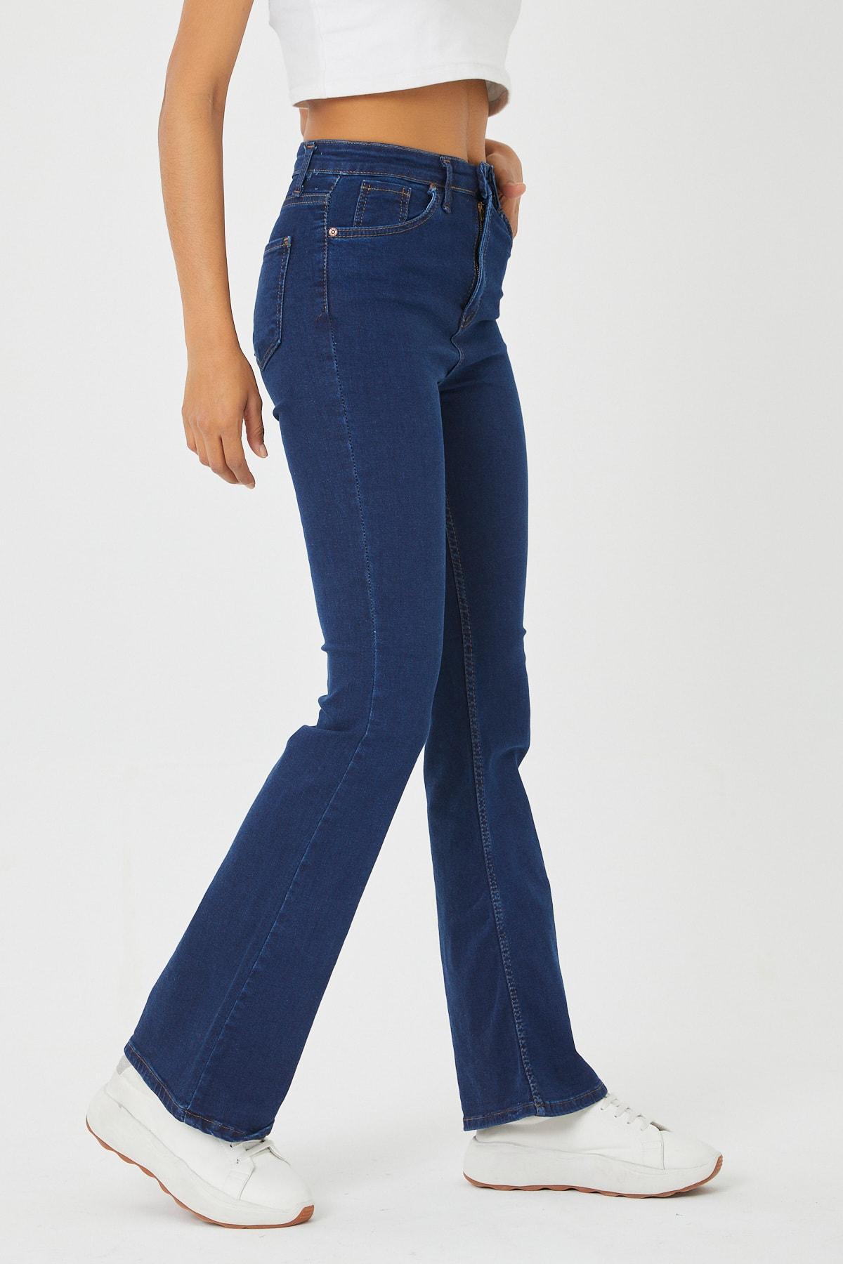 VAV Kadın Mavi İspanyol Paça Kot Pantolon 1