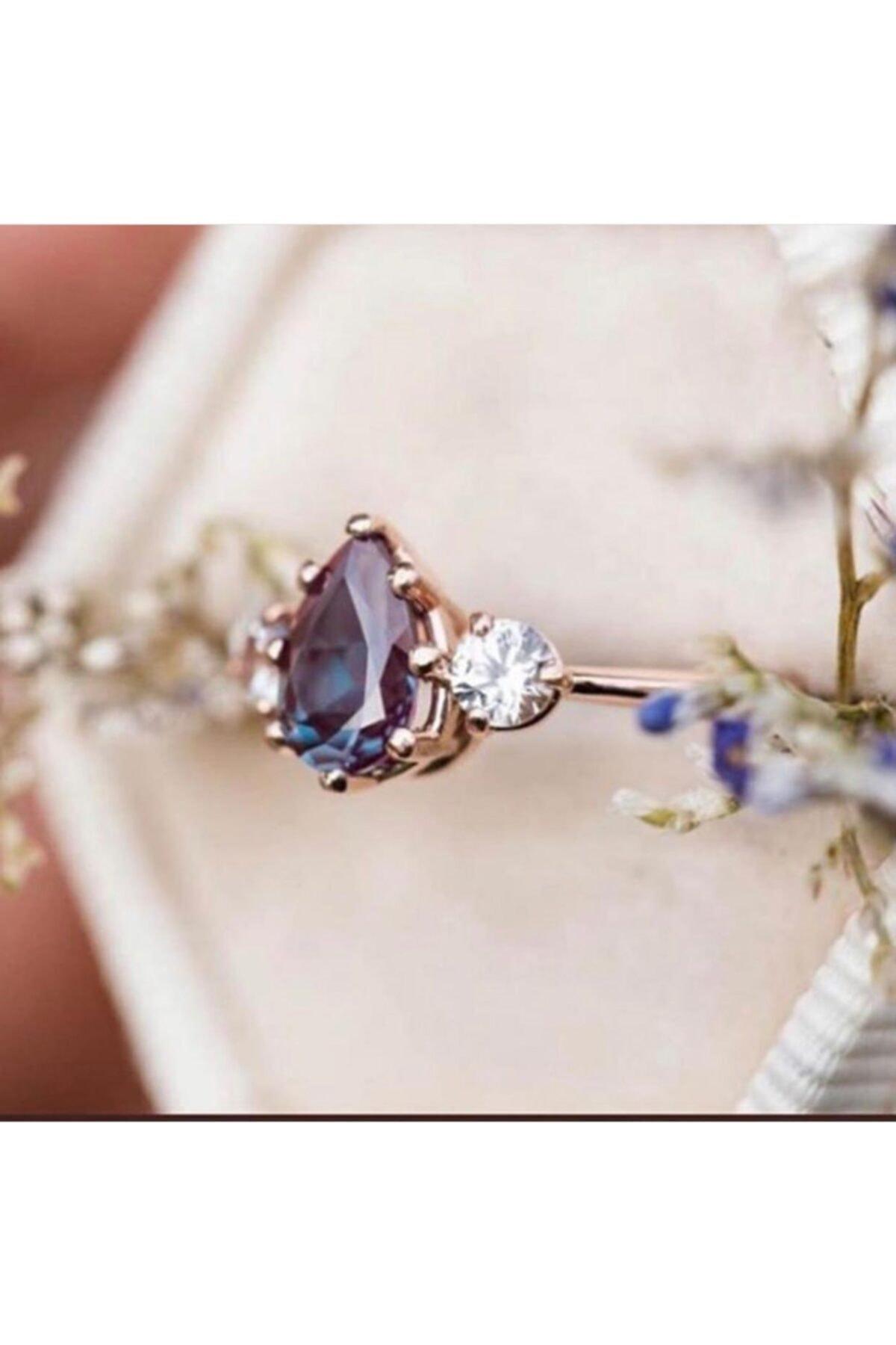 LOTUS GÜMÜŞ Kadın Rose Mistik Topaz Ayarlanabilen 925 Ayar Gümüş Yüzük 2