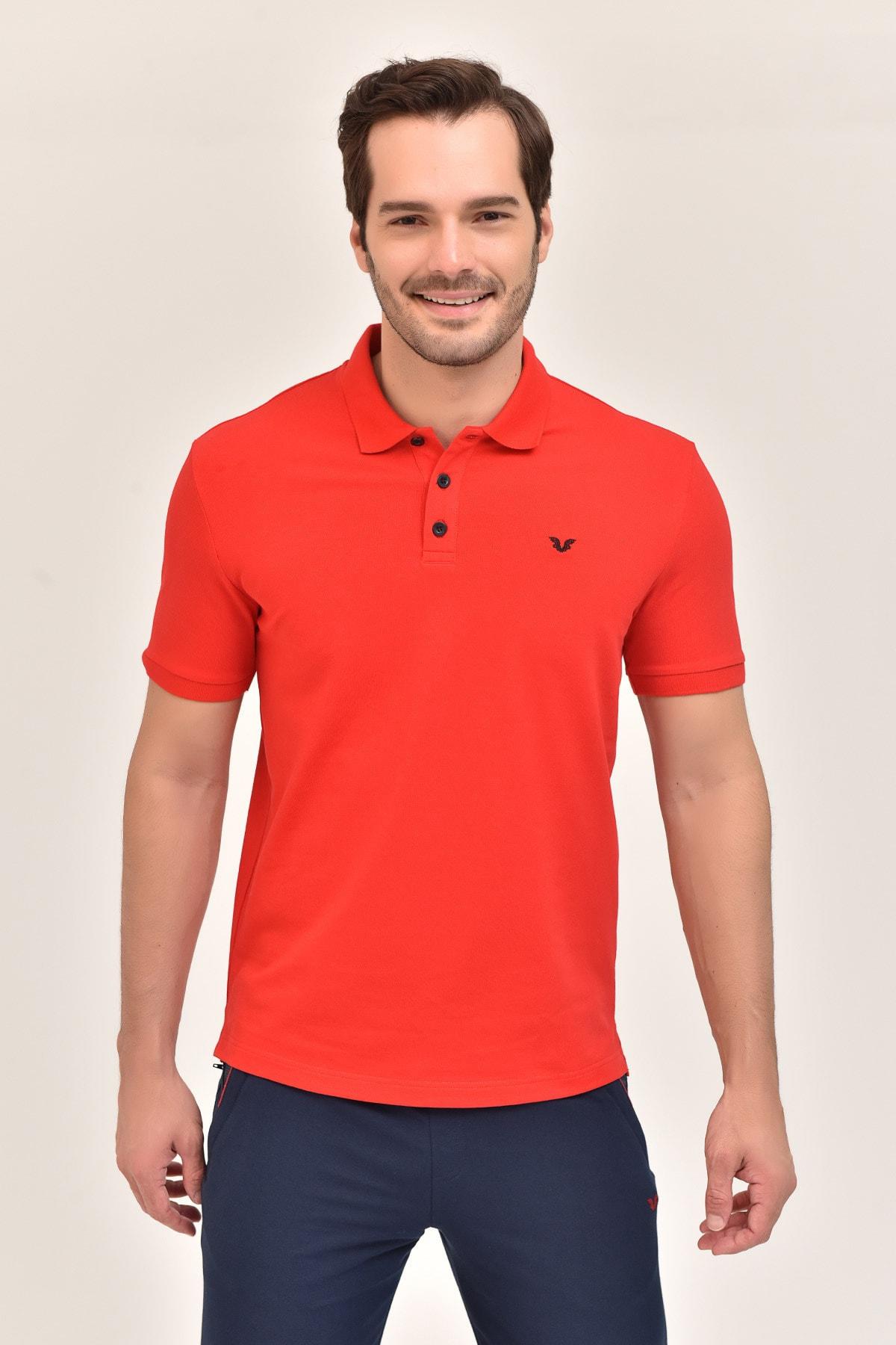 bilcee Kırmızı Büyük Beden Polo Yaka Erkek  T-Shirt GS-8983 1