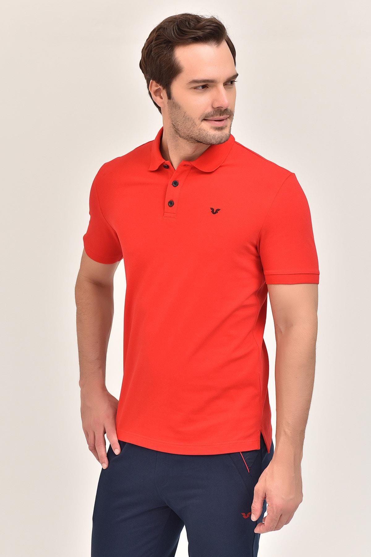 bilcee Kırmızı Büyük Beden Polo Yaka Erkek  T-Shirt GS-8983 2