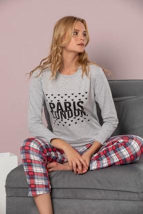 STRAWBERRY Kadın Gri Melanj Pamuklu Interlok Pijama Takimi