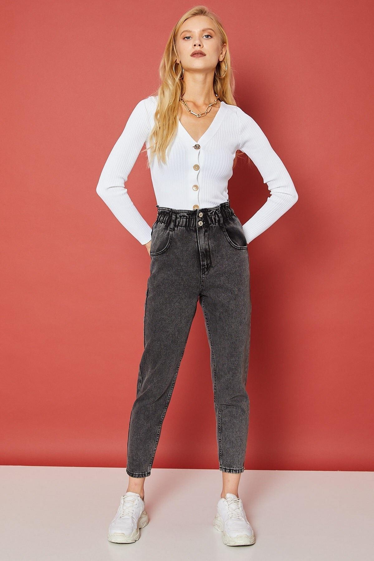 Arma Life Kadın Füme Beli Büzgülü Çift Düğmeli Pantolon 1